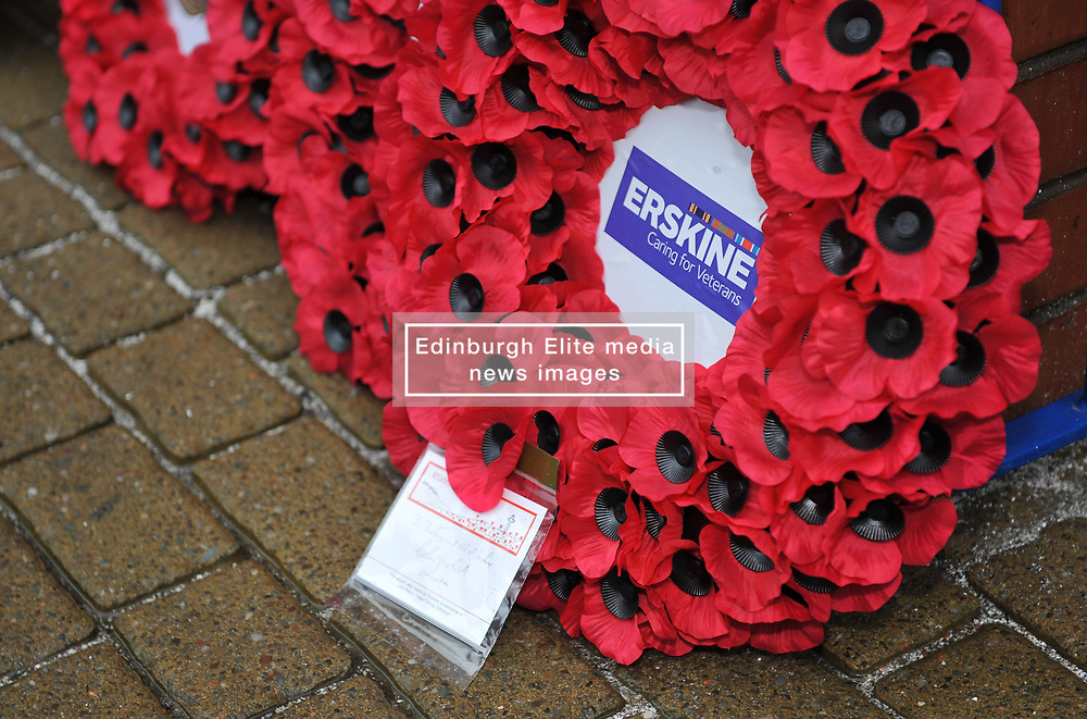 A wreath laid as part of a memorial service at Ibrox for Remembrance Sunday ahead of the match between Rangers v Motherwell, Ladbrokes Scottish Premiership, Ibrox, Sunday 11 November 2018  (c) Angie Isac | SportPix.org.uk