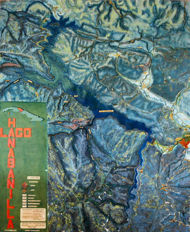 Map of the lake and surrounding Sierra Escambray in the Hotel Hanabanilla, Villa Clara, Cuba.
