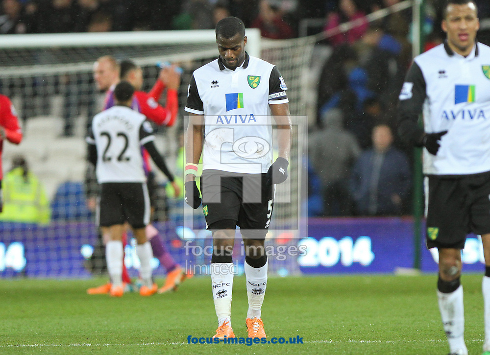 Picture by Tom Smith/Focus Images Ltd 07545141164<br /> 01/02/2014<br /> S&eacute;bastien Bassong (centre) of Norwich City looks dejected at the end of the Barclays Premier League match at the Cardiff City Stadium, Cardiff.