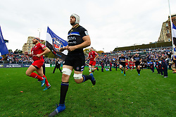 Dave Attwood and the rest of the Bath Rugby team run out onto the pitch - Mandatory byline: Patrick Khachfe/JMP - 07966 386802 - 13/10/2018 - RUGBY UNION - The Recreation Ground - Bath, England - Bath Rugby v Toulouse - Heineken Champions Cup