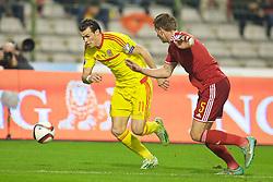 BRUSSELS, BELGIUM - Sunday, November 16, 2014: Wales' Gareth Bale in action against Belgium during the UEFA Euro 2016 Qualifying Group B game at the King Baudouin [Heysel] Stadium. (Pic by David Rawcliffe/Propaganda)
