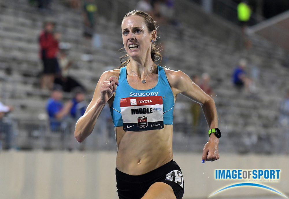 Jul 25, 2019; Des Moines, IA, USA; Molly Huddle wins the women's 10,000m in 31:58.47 during the USATF Championships at Drake Stadium.