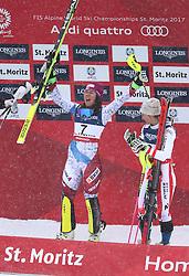 10.02.2017, St. Moritz, SUI, FIS Weltmeisterschaften Ski Alpin, St. Moritz 2017, alpine Kombination, Damen, Flower Zeremonie, im Bild Wendy Holdener (SUI, Weltmeister und Goldmedaille Alpine Kombination der Damen) und Michaela Kirchgasser (AUT, Bronzemedaille Alpine Kombination der Damen) // ladie's Alpin Combined Goldmedalist and World Champion Wendy Holdener of Switzerland and ladie's Alpin Combined bronze medalist Michaela Kirchgasser of Austria during the Flowers ceremony for the ladie's Alpine combination of the FIS Ski World Championships 2017. St. Moritz, Switzerland on 2017/02/10. EXPA Pictures © 2017, PhotoCredit: EXPA/ SM<br /> <br /> *****ATTENTION - OUT of GER*****