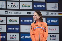 Annemiek van Vleuten takes in the crowds on the podium at UCI Road World Championships Elite Women's Individual Time Trial 2017 a 21.1 km time trial in Bergen, Norway on September 19, 2017. (Photo by Sean Robinson/Velofocus)