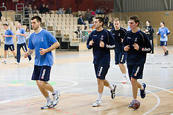 Klemen Cehte, Dragan Gajic and Sebastian Skube at Open training session for the public of Slovenian handball National Men team before European Championships Austria 2010, on December 27, 2009, in Terme Olimia, Podcetrtek, Slovenia.  (Photo by Vid Ponikvar / Sportida)