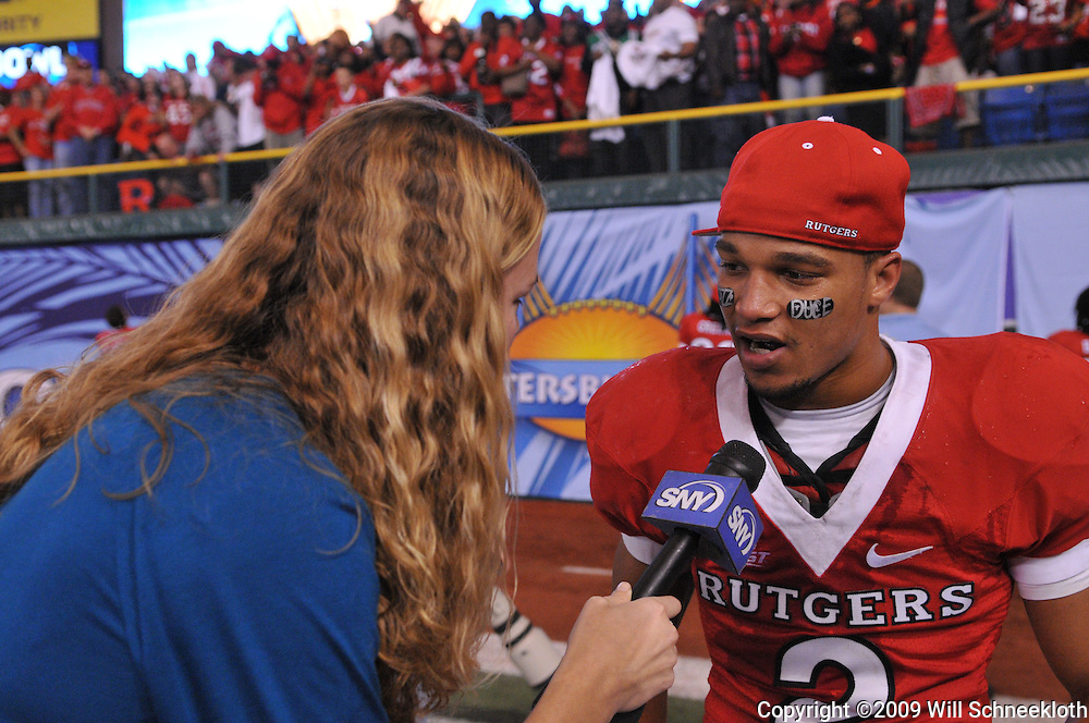 Dec 20, 2009; St. Petersburg, Fla., USA; Rutgers wide receiver Tim Brown (2) is interviewed following Rutgers' 45-24 victory over Central Florida in the St. Petersburg Bowl at Tropicana Field.