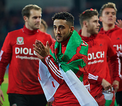 CARDIFF, WALES - Tuesday, October 13, 2015: Wales' Neil Taylor celebrates qualifying for the finals following a 2-0 victory over Andorra during the UEFA Euro 2016 qualifying Group B match at the Cardiff City Stadium. (Pic by Ian Cook/Propaganda)
