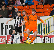 10th April 2018, Tannadice Park, Dundee, Scotland; Scottish Championship football, Dundee United versus St Mirren; Anthony Ralston of Dundee United and Lewis Morgan of St Mirren