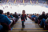 KELOWNA, CANADA - MARCH 14:  A young Kelowna Rockets' fan stands on the stairs against the Prince George Cougars on March 14, 2018 at Prospera Place in Kelowna, British Columbia, Canada.  (Photo by Marissa Baecker/Shoot the Breeze)  *** Local Caption ***