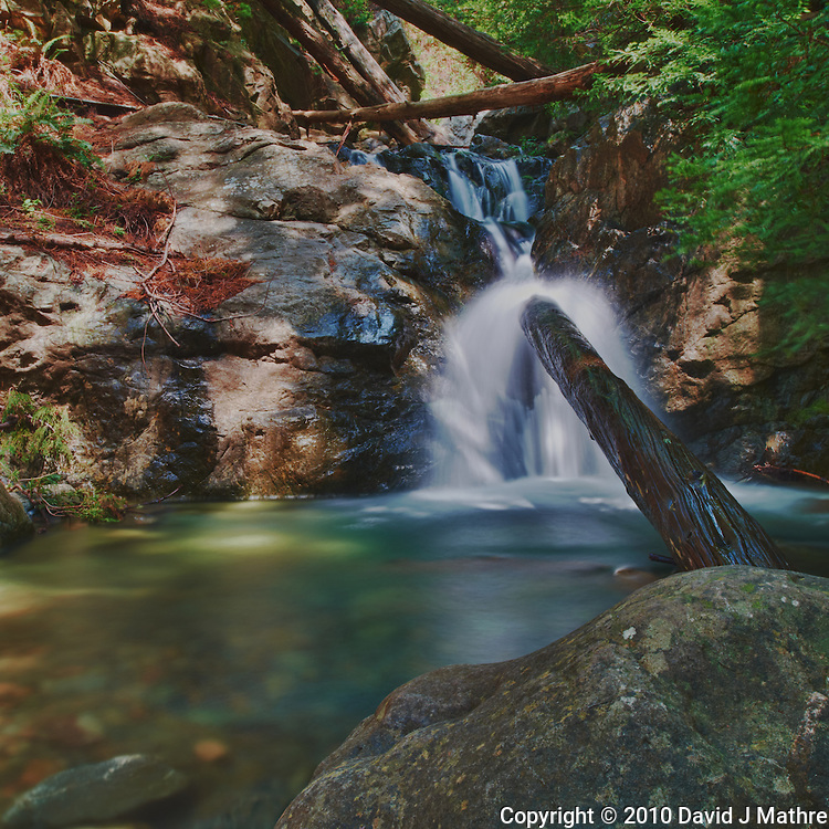 Redwood Gulch Waterfall, HDR Exercise. Image(s) taken with a Nikon D3x and 24 mm f/3.5 PC-E lens Singh-Ray filters (ISO 100, 24 mm, f/16, 2.5 to 30 sec). Raw image processed with Capture One Pro, Nik HDR Efex Pro - Realistic Gradient.