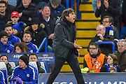 Chelsea manager Antonio Conte gets mad during the Champions League match between Chelsea and Barcelona at Stamford Bridge, London, England on 20 February 2018. Picture by Martin Cole.