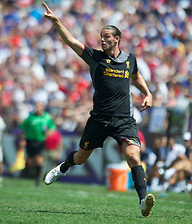 BALTIMORE, MD - Saturday, July 28, 2012: Liverpool's Andy Carroll in action against Tottenham Hotspur during a pre-season friendly match at the M&T Bank Stadium. (Pic by David Rawcliffe/Propaganda)