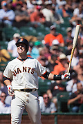 San Francisco Giants catcher Buster Posey (28) reacts to a strike called during a game against the San Diego Padres at AT&T Park in San Francisco, Calif., on September 14, 2016. (Stan Olszewski/Special to S.F. Examiner)
