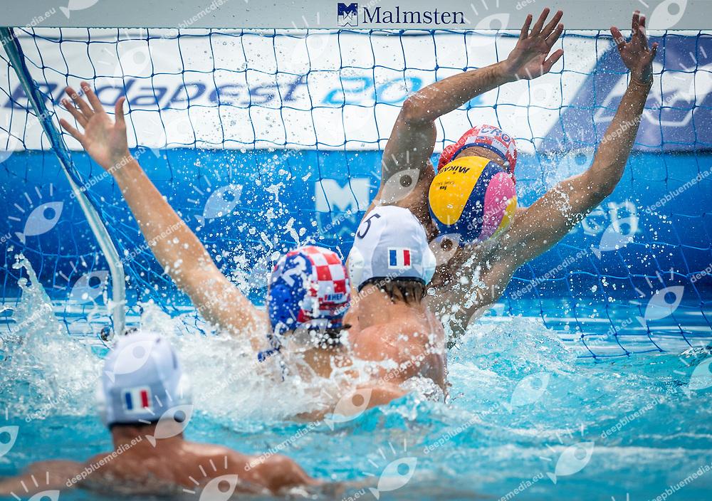 1 PAVIC Josip (C) (GK) CRO<br /> 2 BUKIC Luka CRO<br /> 5 BLARY Romain FRA<br /> 7 PEISSON Mathieu FRA<br /> France (White) Vs Croatia (Blue) Men<br /> LEN European Water Polo Championships 2014 - July 14-27<br /> Alfred Hajos -Tamas Szechy Swimming Complex<br /> Margitsziget - Margaret Island<br /> Day04 - July 17<br /> Photo Giorgio Scala/Inside/Deepbluemedia
