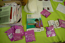 Female condoms and various health leaflets are seen as The City of Cape Town opened a clinic extension in the Elsies River Library, to serve mothers and children with routine visits such as family planning and immunizations, today, Monday, July 13, 2020. Clinic extensions are being constructed to separate COVID-19 treatment and diagnosis from other treatments. PHOTO: EVA-LOTTA JANSSON