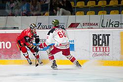 25.09.2016, Ice Rink, Znojmo, CZE, EBEL, HC Orli Znojmo vs HCB Suedtirol Alperia, 4. Runde, im Bild v.l. Roman Tomas (HC Orli Znojmo) Michele Marchetti (HCB Sudtirol) // during the Erste Bank Icehockey League 4th Round match between HC Orli Znojmo and HCB Suedtirol Alperia at the Ice Rink in Znojmo, Czech Republic on 2016/09/25. EXPA Pictures © 2016, PhotoCredit: EXPA/ Rostislav Pfeffer