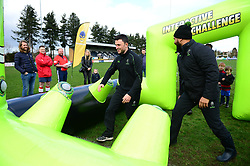 Cooper Vuna and Jonny Arr play the interactive challenge. Worcester Warriors players and community coaches deliver coaching sessions at Stourbridge RFC  - Mandatory by-line: Dougie Allward/JMP - 19/03/2017 - Rugby - Stourbridge RFC - Stourbridge, England - Worcester Warriors Community Rugby