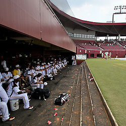 June 04, 2011; Tallahassee, FL, USA; Bethune-Cookman Wildcats players sit in the dugout following the suspension of play due to severe weather in the eighth inning of the Tallahassee regional of the 2011 NCAA baseball tournament against the UCF Knights at Dick Howser Stadium. Mandatory Credit: Derick E. Hingle