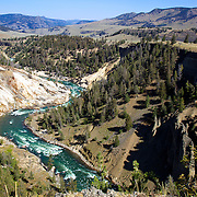 Bleached cliffs near Calcite Springs along the Yellowstone River in Yellowstone National Park, Wyoming