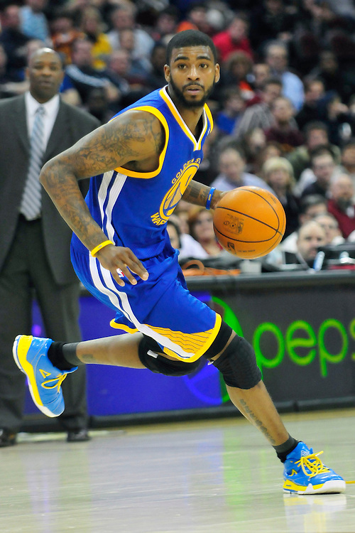 March 8, 2011; Cleveland, OH, USA; Golden State Warriors small forward Dorell Wright (1) drives towards the lane during the fourth quarter against the Cleveland Cavaliers at Quicken Loans Arena. The Warriors beat the Cavaliers 95-85. Mandatory Credit: Jason Miller-US PRESSWIRE