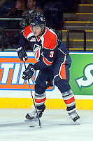 KELOWNA, CANADA -FEBRUARY 1: Sam Grist D #3 of the Kamloops Blazers handles the puck against the Kelowna Rockets on February 1, 2014 at Prospera Place in Kelowna, British Columbia, Canada.   (Photo by Marissa Baecker/Getty Images)  *** Local Caption *** Sam Grist;