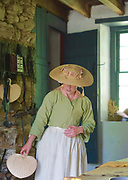 Kitchen and colonial dressed docent, Colonial Plantation, Ridley Creek State Park, Delaware County, PA