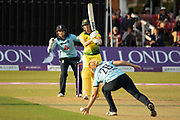 Katherine Brunt almost takes a caught and bowled during the Royal London Women's One Day International match between England Women Cricket and Australia at the Fischer County Ground, Grace Road, Leicester, United Kingdom on 2 July 2019.