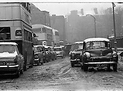Snow holds up traffic In Dublin..09.02.1968