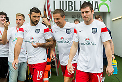 Charles Austin of England, Phil Jagielka of England and James Milner of England prior to the EURO 2016 Qualifier Group E match between Slovenia and England at SRC Stozice on June 14, 2015 in Ljubljana, Slovenia. Photo by Vid Ponikvar / Sportida