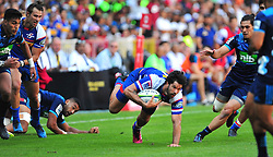 Cape Town-180317 EW Viljoen on his way to score his second try for the  of the DHL Stomers  against Blues in the Super Rugby tournament  at Newlands rugby stadium.Stomers won the game 37-20 Photograph:Phando Jikelo/African News Agency/ANA