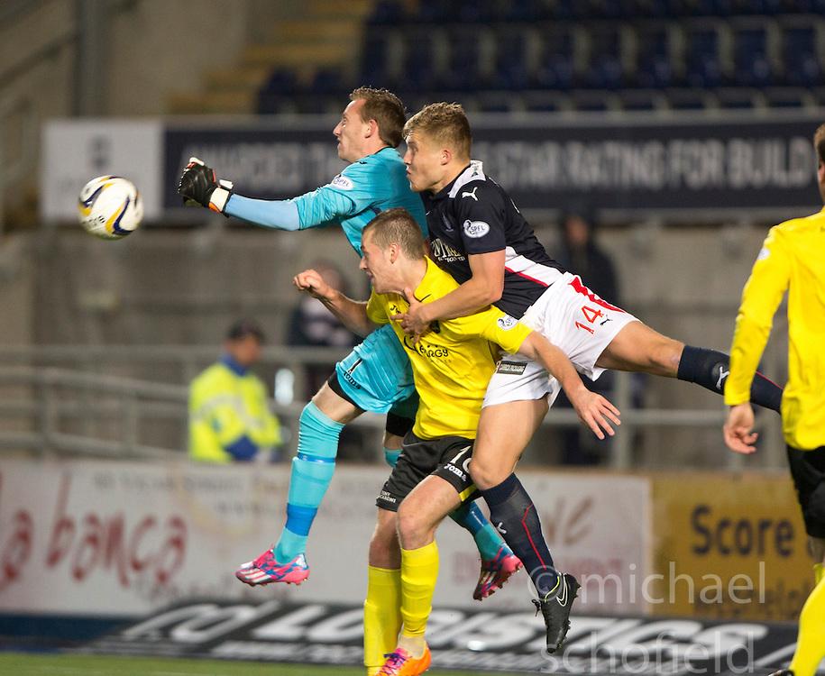 Falkirk's Peter Grant in on  Livingston keeper Darren Jamieson.<br /> Falkirk 0 v 0  Livingston, Scottish Championship game played 21/10/2014 at The Falkirk Stadium.