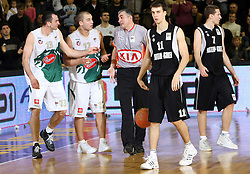 Jasmin Hukic and Marko Milic complain to referee at the end of second semi-final match of Basketball NLB League at Final four tournament between KK Partizan Igokea, Beograd, Serbia and Union Olimpija, Ljubljana, Slovenia, on April 25, 2008, in Arena Tivoli in Ljubljana. Match was won by Partizan 94:90. (Photo by Vid Ponikvar / Sportal Images)