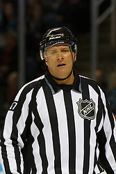 Jan 31, 2012; San Jose, CA, USA; NHL linesman Pierre Champoux (67) before a face off between the San Jose Sharks and the Columbus Blue Jackets during the second period at HP Pavilion. San Jose defeated Columbus 6-0. Mandatory Credit: Jason O. Watson-US PRESSWIRE