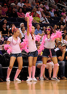 Aug 8, 2010; Phoenix, AZ, USA; Phoenix Mercury fans dance in pink for breast health awareness week at US Airways Center.  Mandatory Credit: Jennifer Stewart-US PRESSWIRE..