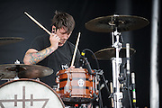 The Devil Wears Prada performing at Mayhem Fest 2012 at Verizon Wireless Amphitheater in St. Louis, Missouri on July 20, 2012.