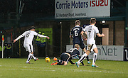 Dundee&rsquo;s Kane Hemmings scores his side's second goal - Ross County v Dundee, Ladbrokes Premiership at Victoria Park<br /> <br />  - &copy; David Young - www.davidyoungphoto.co.uk - email: davidyoungphoto@gmail.com
