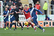 Jacques Maghoma of Birmingham city makes haedway chased by Matt Derbyshire of Rotherham United during the Sky Bet Championship match between Rotherham United and Birmingham City at the New York Stadium, Rotherham, England on 13 February 2016. Photo by Ian Lyall.