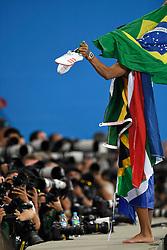 DK:<br /> 20160819, Rio de Janeiro, Brasilien:<br /> Rio 2016 Olympiske Lege. Pressefolk på arbejde under OL i Rio. Wayde van Niekerk fra Sydafrika poserer for fotografer efter at have vundet og sat verdensrekord på 400 meter for mænd<br /> Foto: Lars Møller<br /> UK: <br /> 20160819, Rio de Janeiro, Brazil:<br /> Rio 2016 Olympic Games. Press at work during the Olympics in Rio<br /> Photo: Lars Moeller