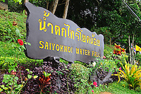 Sign for Saiyoknoi Waterfall Kanchanaburi Province Thailand