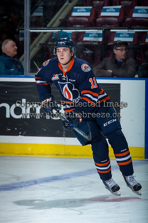 KELOWNA, CANADA - DECEMBER 27: Travis Walton #11 of the Kamloops Blazers warms up against the Kelowna Rockets on December 27, 2017 at Prospera Place in Kelowna, British Columbia, Canada.  (Photo by Marissa Baecker/Shoot the Breeze)  *** Local Caption ***