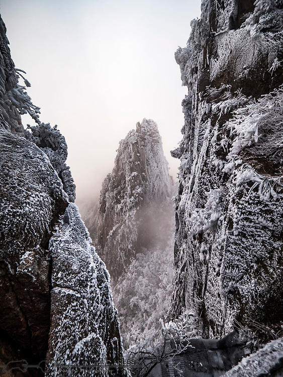 Huang Shan Mountains after a freezing fog
