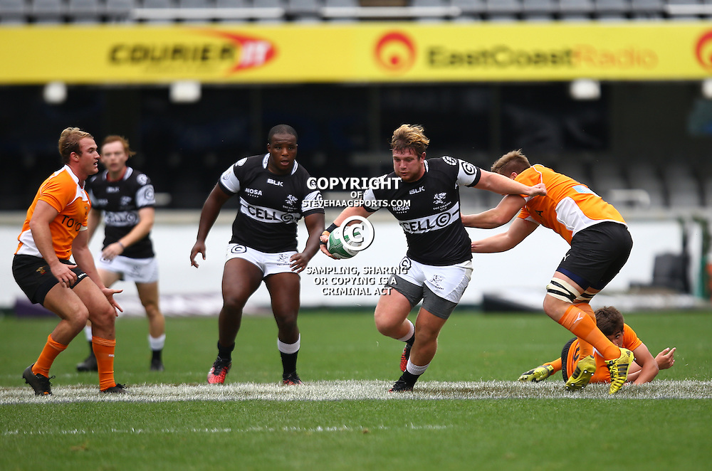 DURBAN, SOUTH AFRICA - SEPTEMBER 10: Christopher Klopper of the Cell C Sharks Under 19's on attack during the Currie Cup U19 match between the Sharks and Free State at Growthpoint Kings Park on September 10, 2016 in Durban, South Africa. (Photo by Steve Haag/Gallo Images)