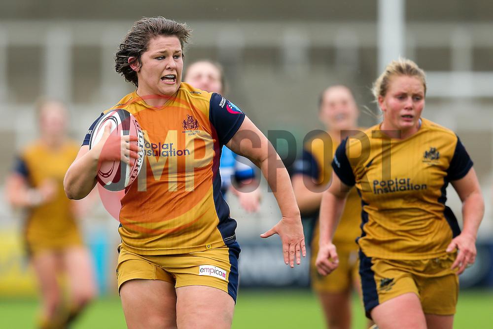 Sasha Acheson of Bristol Ladies breaks to score a try - Rogan Thomson/JMP - 08/10/2016 - RUGBY UNION - Kingston Park - Newcastle, England - Darlington Mowden Park Sharks v Bristol Ladies Rugby - RFU Women's Premiership.