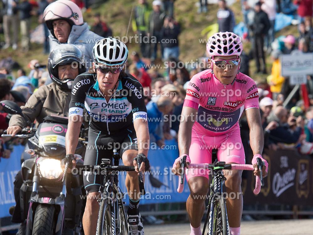 31.05.2014, Monte Zoncolan, ITA, Giro d Italia 2014, 20. Etappe, Maniago nach Monte Zoncolan, im Bild der Gesamtführende Nairo Quintana, COL (#121, Movistar Team) und Rigoberto Uran, COL (#141, Omega Pharma – Quick Step) // race leader Nairo Quintana, COL (#121, Movistar Team) and Rigoberto Uran, COL (#141, Omega Pharma – Quick Step) during Giro d' Italia 2014 at Stage 20 from Maniago to Monte Zoncolan, Italy on 2014/05/31. EXPA Pictures © 2014, PhotoCredit: EXPA/ R. Eisenbauer