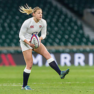 Katie Mason in action, England Women v Ireland Women in a 6 Nations match at Twickenham Stadium, Whitton Road, Twickenham, England, on 27th February 2016
