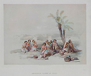 Machine colourized image of Abyssinian Slaves Resting at Korti (Kurti) Sudan Nubia from Egypt and Nubia, Volume I: Abyssinian Slaves Resting at Korti-Nubia, 1847. Louis Haghe (British, 1806-1885), F.G.Moon, 20 Threadneedle Street, London, after David Roberts (British, 1796-1864). Color lithograph;