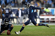 Tennessee Titans kicker Ryan Succop (4) attempts a kick during the week 14 regular season NFL football game against the Jacksonville Jaguars on Thursday, Dec. 6, 2018 in Nashville, Tenn. The Titans won the game 30-9. (©Paul Anthony Spinelli)