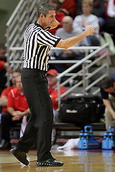 08 November 2015: Official Rick O'Neill makes an offensive charging call. Illinois State Redbirds host the Southern Indiana Screaming Eagles and beat them 88-81 in an exhibition game at Redbird Arena in Normal Illinois (Photo by Alan Look)