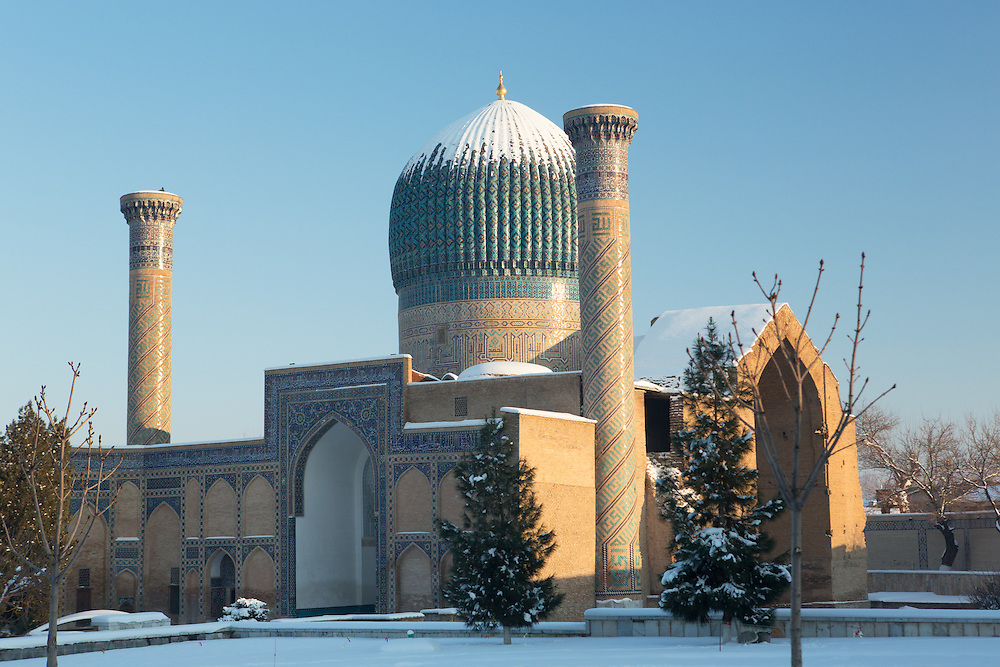 Snow on the Silk Road: snow on the fluted dome of Timur's (Tamerlane's) tomb, Samarkand. Feb 5-6, 2014 saw a rare sustained snowy period in Samarkand, Uzbekistan, breaking record lows and resulting in school closures and power outages