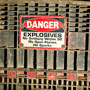 Pallet of explosives wait for use underground in an Idaho silver mine